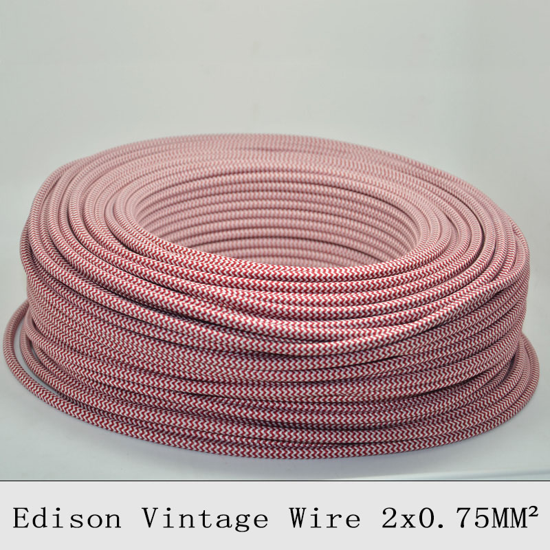 2*0.75mm2 Textile Electrical Wire Braided Chandelier Pendant Lamp Wires Round Fabric Electrical Cable Vintage Lamp Cord 10MLot