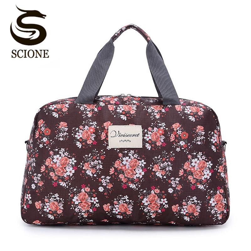 656131e8b8af Scione Women Travel Bags Handbags New Hot Fashion Portable Luggage Bag  Floral Print Duffel Bags Waterproof Weekend Duffle Bag