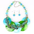 BS7004 Fashion Jewelry Sets Shell Pendant Resin Beads Bright 8Colors Fashion Design Party Gift Free Shipping