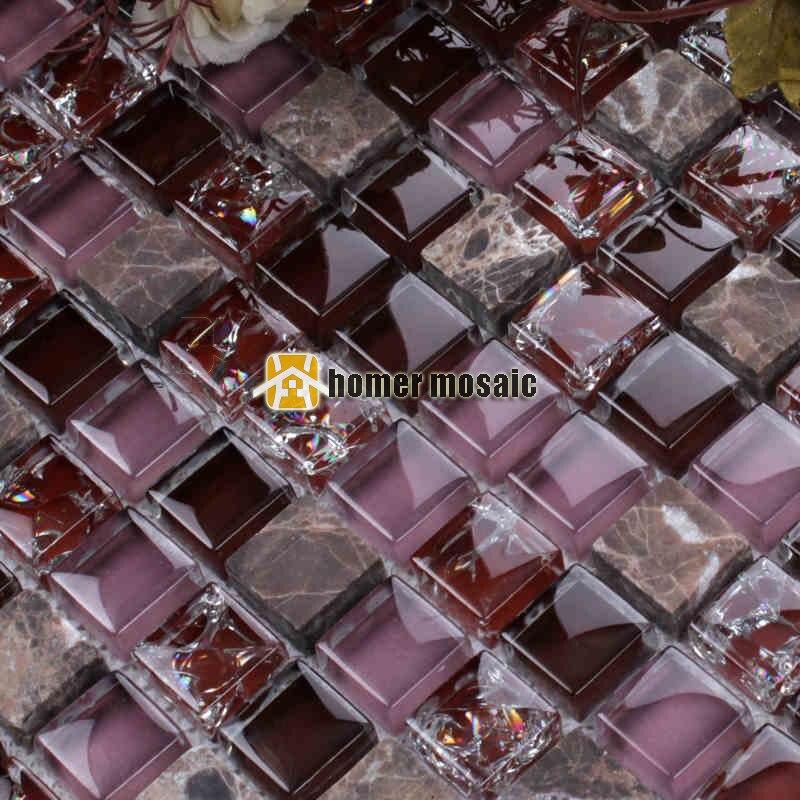 15mm purple color crystal glass mixed stone mosaic tile for living room kitchen backsplash bathroom fireplace wall HMB1210