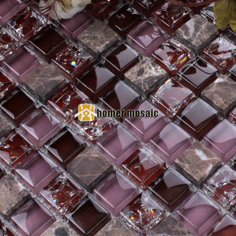 15mm Purple Color Crystal Glass Mixed Stone Mosaic Tile