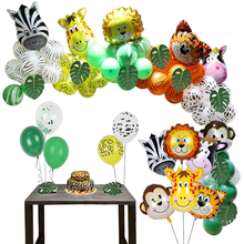Jungle Zoo Safari Party Supplies Decoration Kit Animal Foil Balloons Latex Forest Wild Animal Birthday Kids Baby Shower Decor