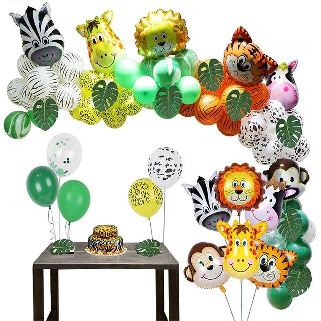 Jungle Zoo Safari Party Supplies Decoration Kit Animal Foil Balloons Latex Forest Wild Animal Birthday Kids Baby Shower Decor