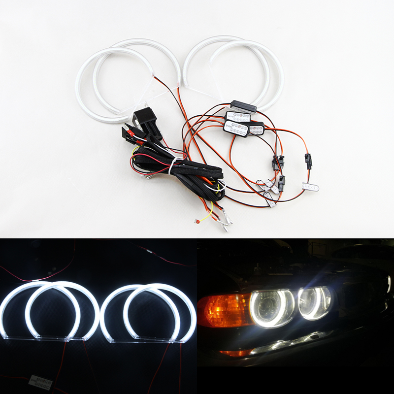 New Car-styling Ultra Bright SMD Led Angel Eyes For Bmw E46 Non-projector 2*131mm+2*145mm Auto Car Headlight Halo Rings Kit for uaz patriot ccfl angel eyes rings kit non projector halo rings car eyes free shipping