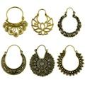 Brass Gold Tone Ornate Swirl Hoop Gypsy Indian Tribal Ethnic Earrings Boho Body Jewelry