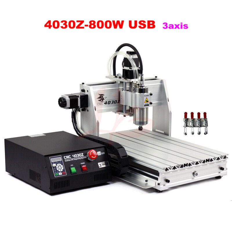 EUR free tax CNC router lathe machine 4030Z-800W USB 3axis wood milling and drilling machine for PCB engraver with ball screw free tax to eu high quality cnc router frame 3020t with trapezoidal screw for cnc engraver machine