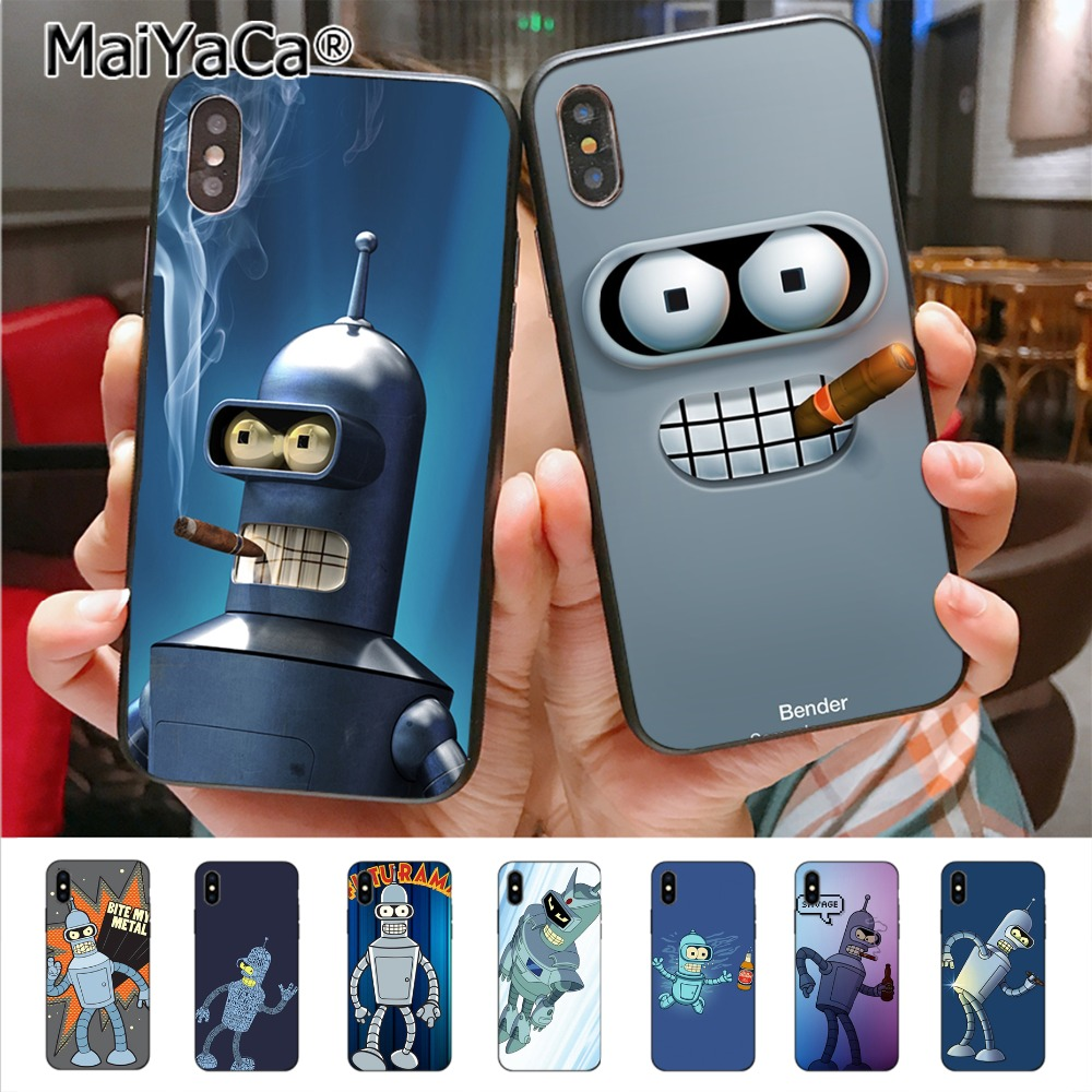 Futurama Bender Colorful Cute Phone Accessories Case for iPhone XS MAX 8 7 6 6S Plus X XS XR 5 5S SE 5C Coque Shell