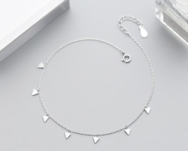 1pc Authentic Real 925 Sterling Silver Fine Jewelry Polished Triangle Geometric Anklet Bracelet GTLS735