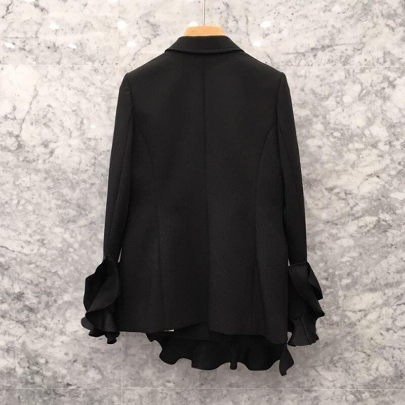 Coréennes Printemps Manteaux Ol 2019 Black Jc2848 Double Blazer Femelle Occasionnels Patchwork Automne Perles Femmes Boutons Blazers Ruches Croisé BtxHxqgw