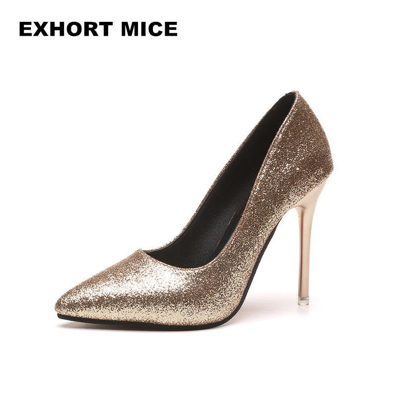2018 HOT Spring Autumn Women Pumps Sexy Gold Silver High Heels Shoes Fashion Pointed Toe Wedding Shoes Party Women Shoes D-81 siketu free shipping spring and autumn high heels shoes career sex women shoes wedding shoes g012 nightclub pumps