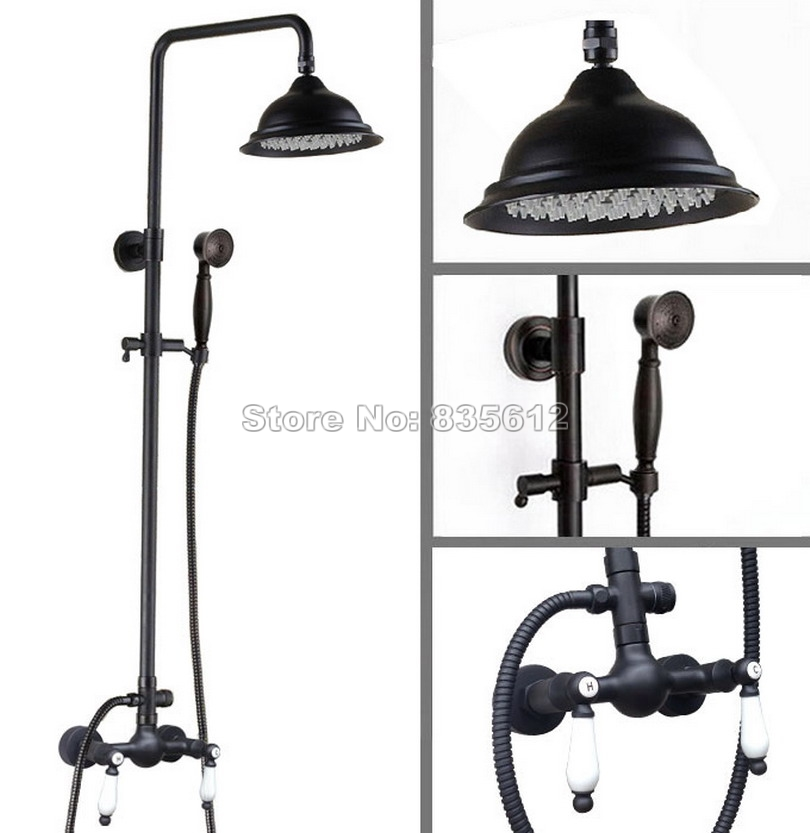 Black Oil Rubbed Bronze Bathroom Wall Mounted Rain Shower Faucet Set with Hand Shower Head & Ceramic Handles Mixer Taps Wrs472