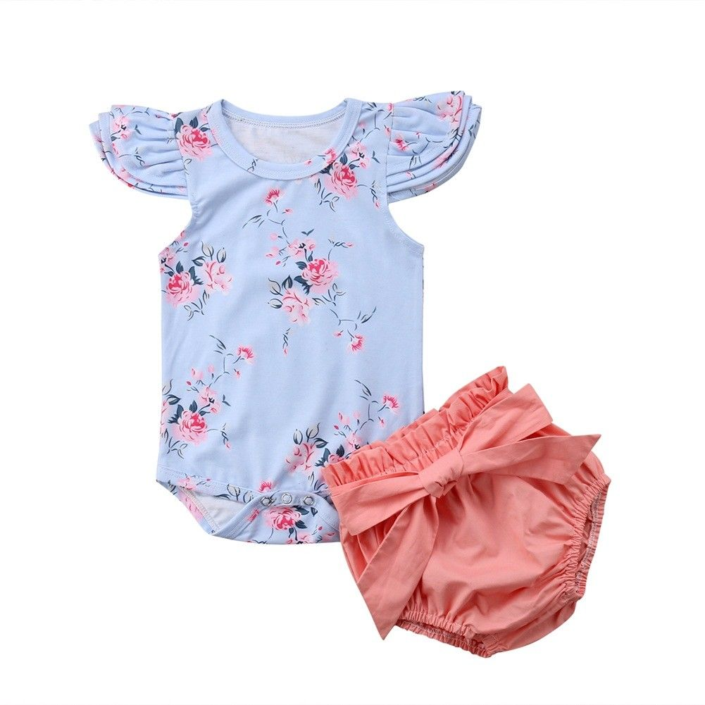 4a463e71f750 Princess Infant Baby Girl Florla Clothes Set Flying Sleeves Top Romper  Shorts Pants Bow Outfit Summer Cute Baby Girl Clothing ~ Hot Sale June 2019
