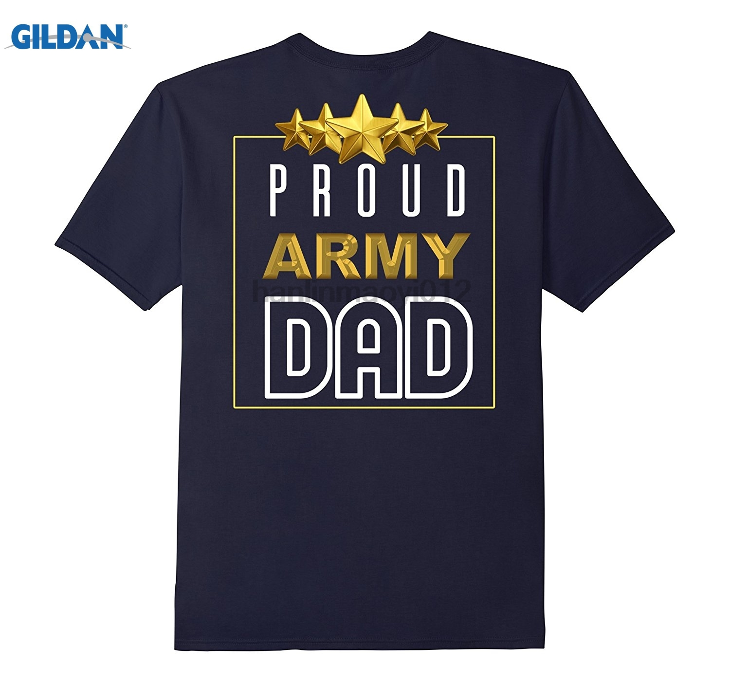 GILDAN Mens Proud Army Dad T Shirt Fathers Day Daddy Gift On Back glasses Womens T-shirt ...