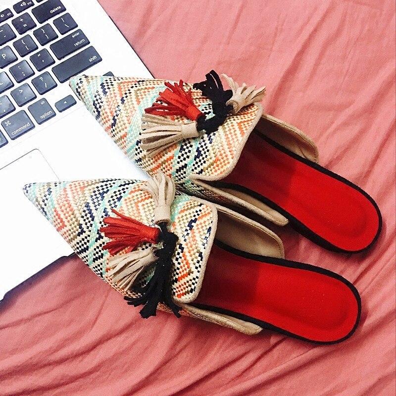 De Dames Fringe Pointu Diapositives Flops Paresseux Flip Bout Herbe Tricoté Chaussures Rotin Plat Femmes Mules Pantoufles Gland Date Plage 1wCZw