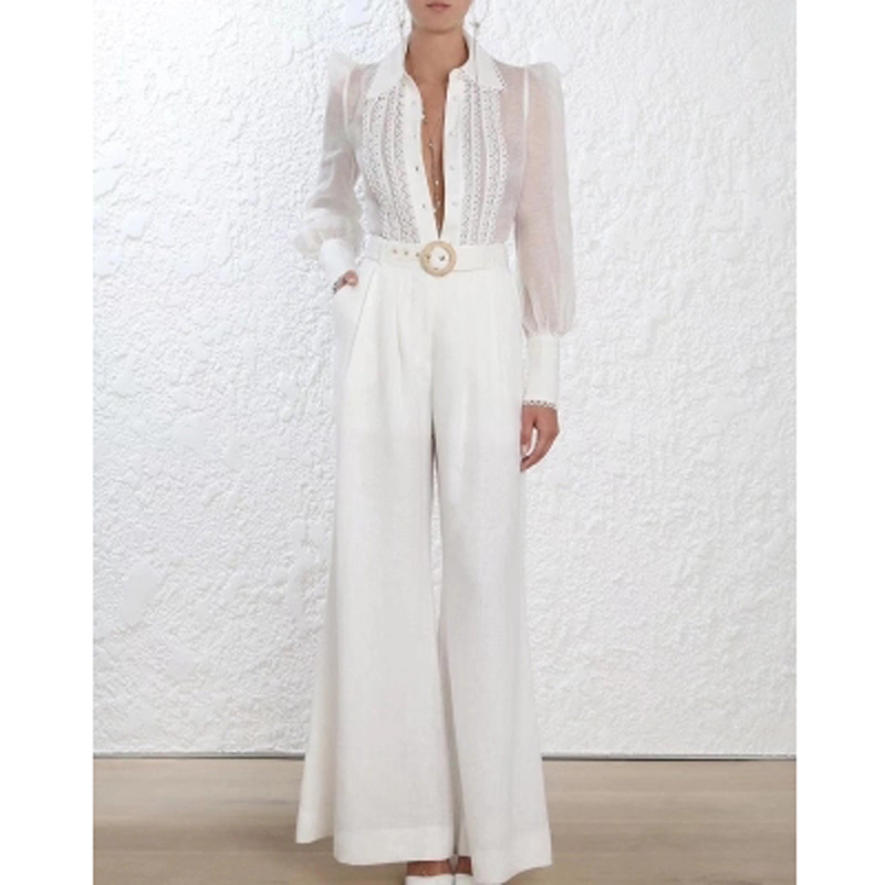 2018 New Autumn Designer Luxury Brand Runway High Quality Elegant Woman Long Sleeve Blouse and Long Pants with Sash Women Sets