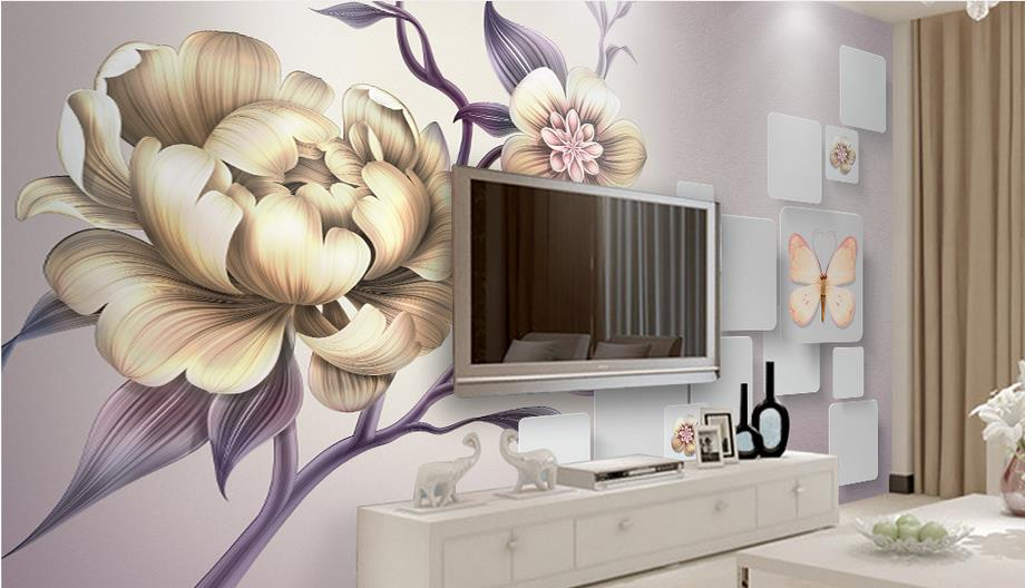 Beautiful hand painted Wallpaper Modern Peony large Wallpaper Mural For bed room Living Room Wall papers Home Decor 3d free shipping hand painted art wallpaper billiards sexy wallpaper billiards club hall mural