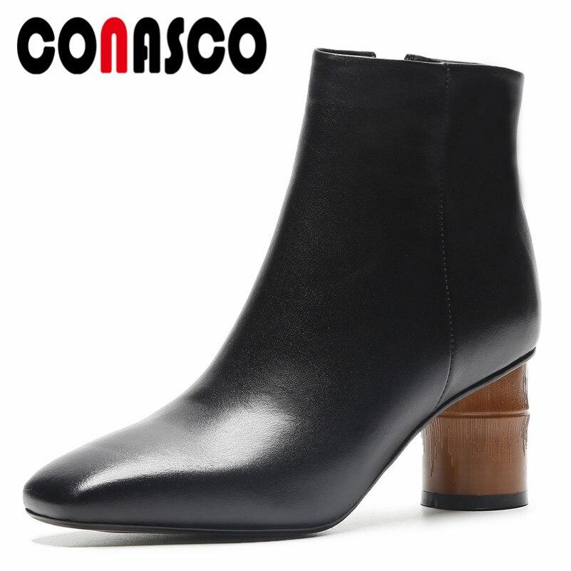 57a2ffa6 Cuero Mujer Cortos Tacones Altos Elegantes Martin Genuino De Con Tobillo  Zapatos Negro Cremallera Oficina Marca Para Moda Botas Conasco x6p1wa