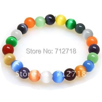 Random mixed color cat's eye bracelets 8mm cat's eye beads bracelets CT082401