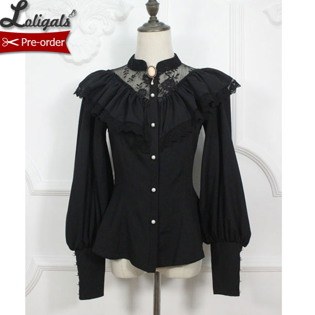 Custom Tailored Retro Style Women s Gothic Blouse Vintage Illusion Neck Long Lantern Sleeve Ruffled Blouse
