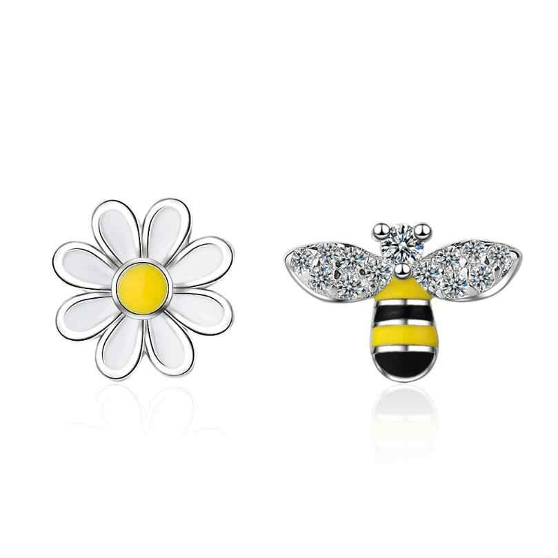 Lovely Asymmetric Bee Sun Flower Zircon Stud Earrings Ear Line For Women 925 Sterling Silver Pendientes Jewelry Brincos SAE53
