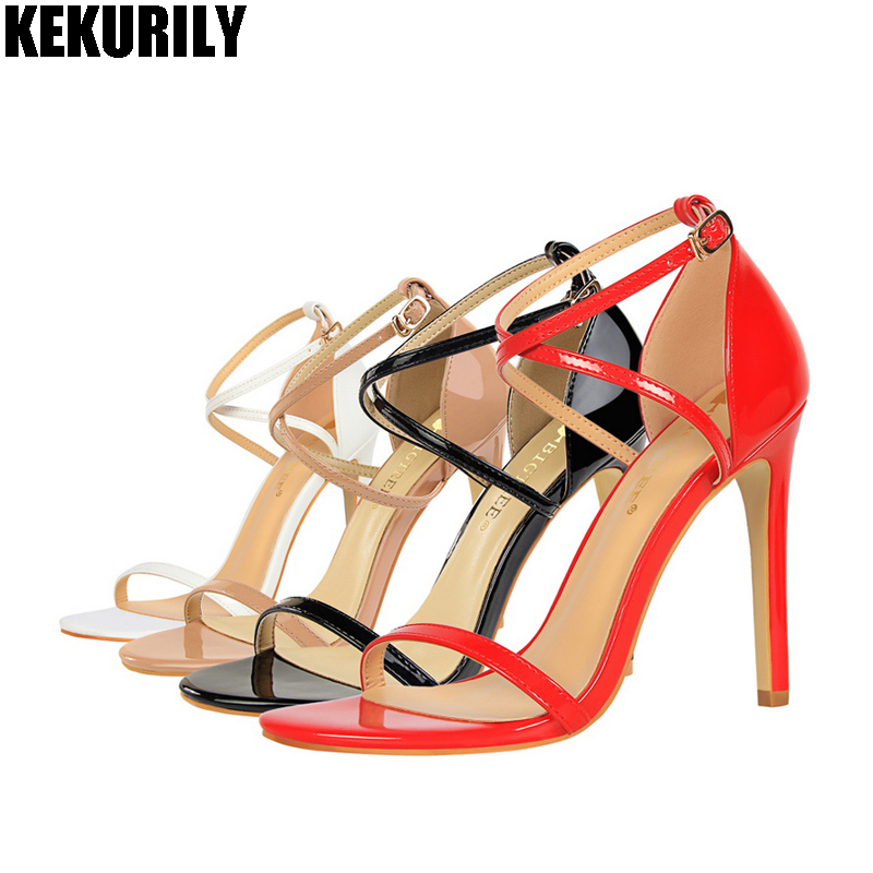 Shoes Woman High heel Sandals Patent leather Peep toe Slide cross belt buckle Pumps Summer Zapatos mujer Black red nude white цена и фото