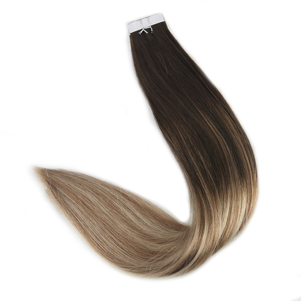 Full Shine 20 Pieces 50 Gram Tape Hair Extension In Balayage Color #2 Fading To #8 With #22 Light Blonde Machine Remy Hair Tape