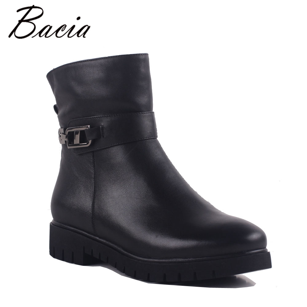 Bacia 2017 Women Winter Boots Casual Super Comfortable Genuine Leather Boots Female Black Warm Wool Fur Shoes Size 36-41 MB019 bacia 2017 women winter boots casual super comfortable genuine leather boots female black warm wool fur shoes size 36 41 mb019