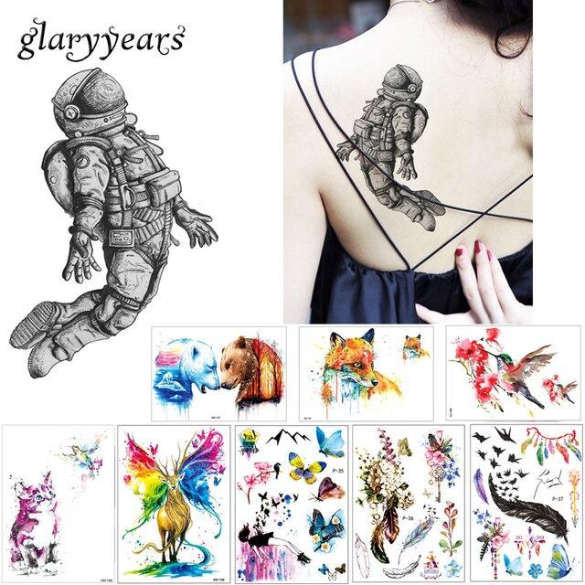 1 hoja creativo impermeable tatuaje pasta papel KM 029 astronauta ...