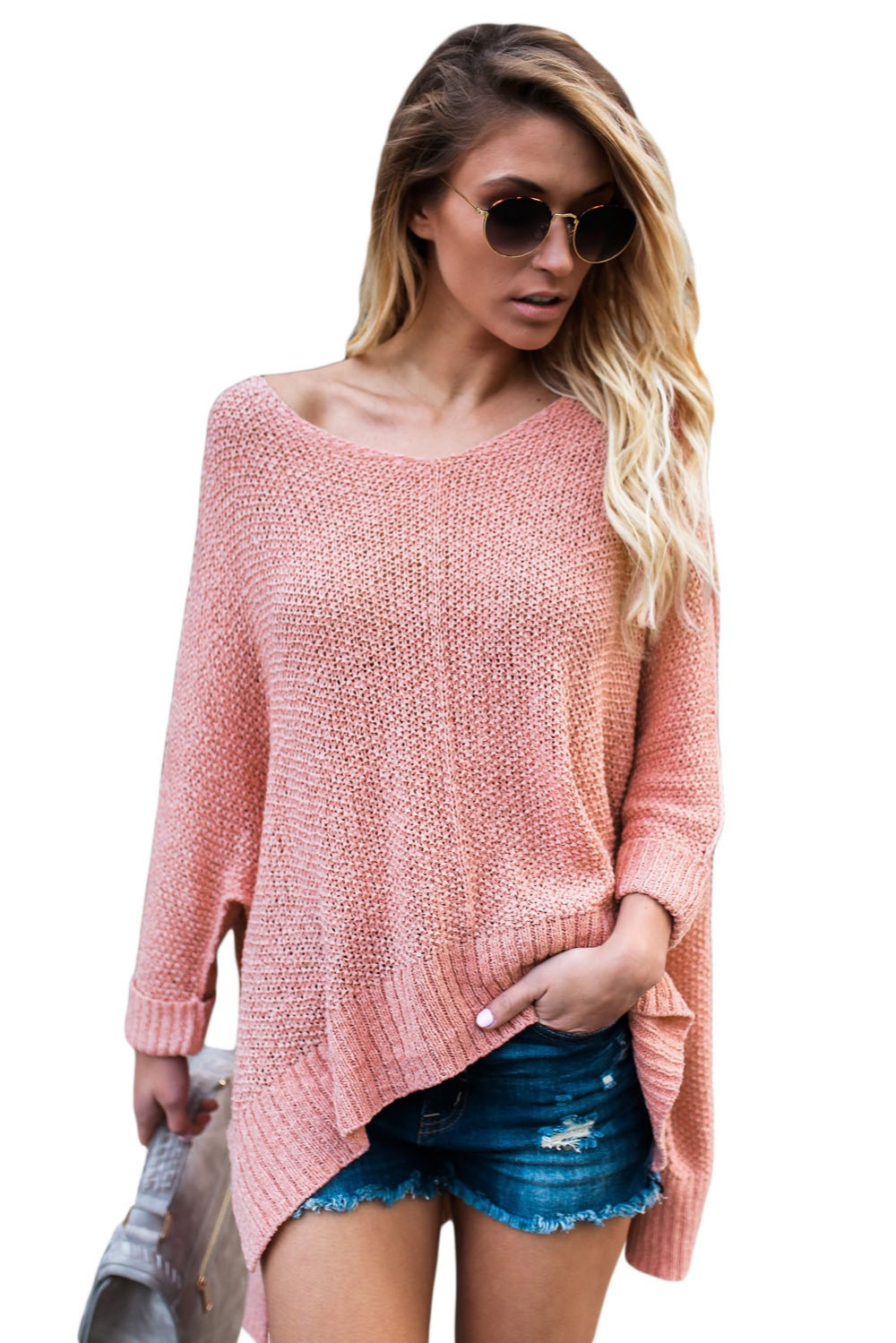 Pink-Oversized-Knit-High-low-Slit-Side-Sweater-LC27680-10-1