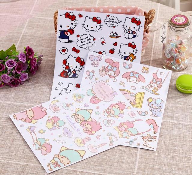 Cartoon Hello Kitty My Melody Twin Stars Wall Bag Luggage Book Stickers Home  Decor