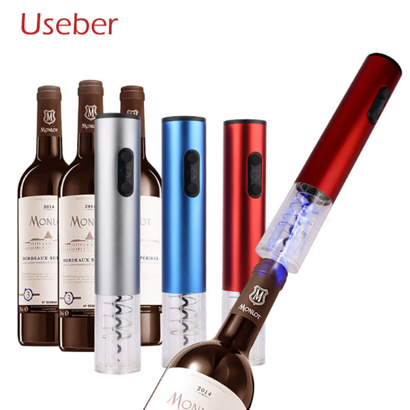 Electric Wine Opener Dry Battery Electric Corkscrew Stainless Steel Cover for Red Wine Bottle Opener Bottle