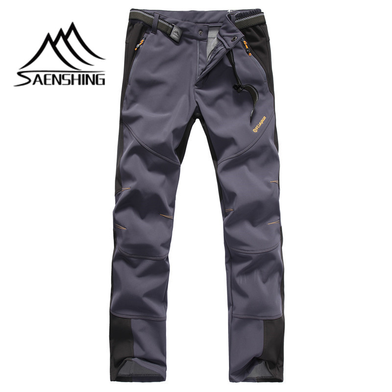 SAENSHING NEW Softshell Pants Autumn Winter Men Hiking Outdoor Trousers Waterproof Windproof Thermal for Fishing Camping
