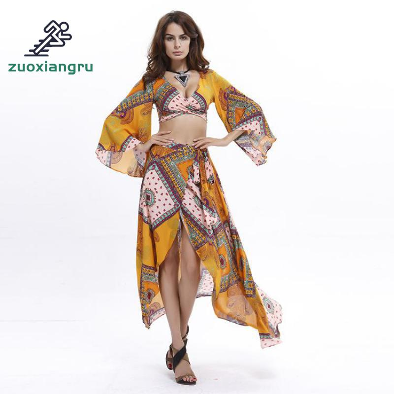 2 Piece Women Beach Dress Set Caftan Swimsuit Cover Up Print Pareo Women Robe Plage Swimwear Dress Sexy Sarong Beach Tunic