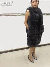 Linhaoshengyue 90 см длинные натуральный Лисий Меховой жилет синий цвета: зеленый, черный и серый натуральный мех лисы пальто с мехом женские натуральный Меховые пальто