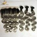Два тона серого кружева фронтальной 13x4 девственница малайзийские волосы расслоения с серый ombre кружева закрытие фронтальная с ребенком волосы 3 + 1
