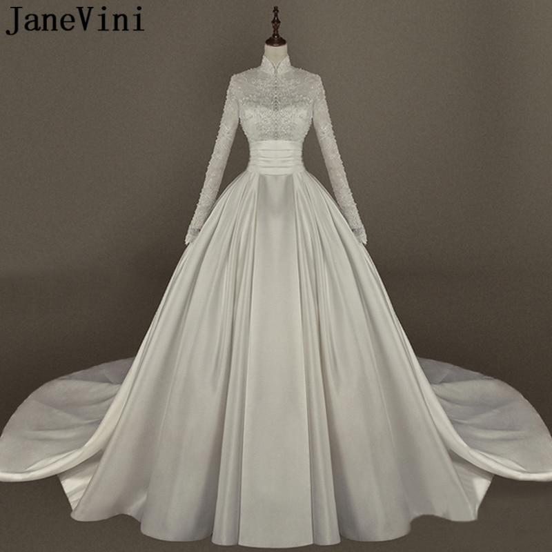 JaneVini Vintage dentelle chapelle robes De mariée col haut perlé bouton retour luxe une ligne à manches longues robe De mariée Vestido De Noiva