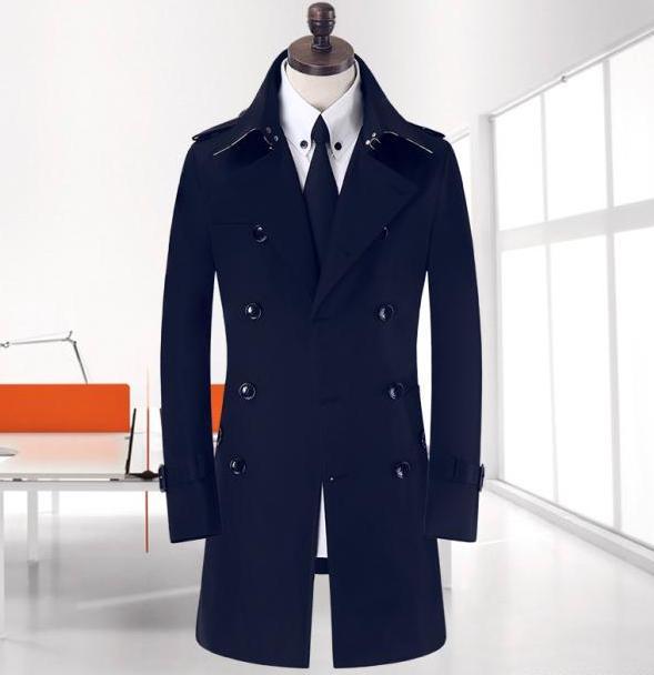 Spike! 9XL 8XL große Größe Frühling lange schwarze Trenchcoat - Herrenbekleidung - Foto 3