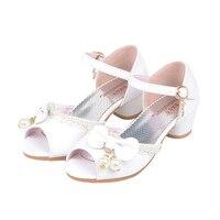 Girls Wedding Shoes Children Sandals 2017 Summer New Princess Girl Sandals High Heels Bow Sweet Sandals