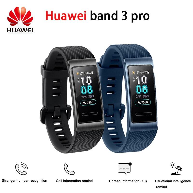 Huawei Band 3 Pro GPS bande intelligente en métal Amoled 0.95 'écran tactile couleur course de natation capteur de fréquence cardiaque Bracelet de sommeil