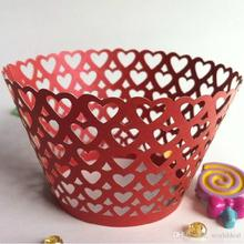 120pcs/lot Laser Cut Paper Wrapper Cake Surrounding Edge Heart Rows Design Party Feast Cupcake Biscuit Packing wc553