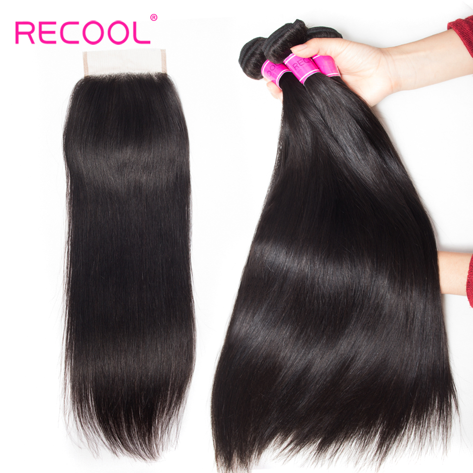 Recool Hair Indian Straight Hair 3 Bundles With Closure Natural Color Remy Human Hair Bundles With