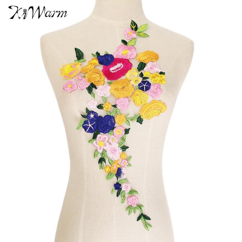 Kiwarm modern rose flower collar sew on patch applique
