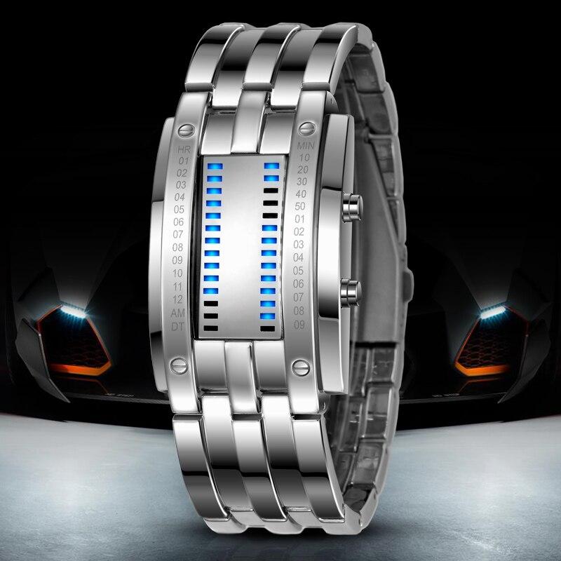 Skmei populares relojes creativos de moda para hombres, pantalla Led Digital, resistente a los golpes, relojes de pulsera para amantes, reloj para hombres - 4