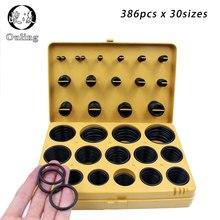 купить 386pcs Rubber Ring NBR O Rings Rubber Kit 30Sizes Nitrile Oring Seal O-Ring Set Sealing Oil Ring Gasket Assortment Set Kit Box дешево