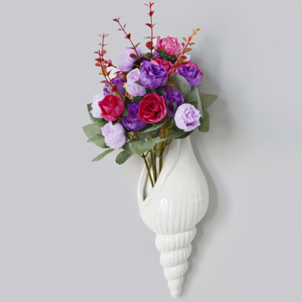 New Modern White Ceramic Sea Shell Conch Flower Vase Wall Hanging
