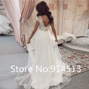 Image 2 - Vestidos de novia de encaje con cuello de pico, Boda de Princesa Sexy, manga casquillo, a medida, de talla grande, 2020