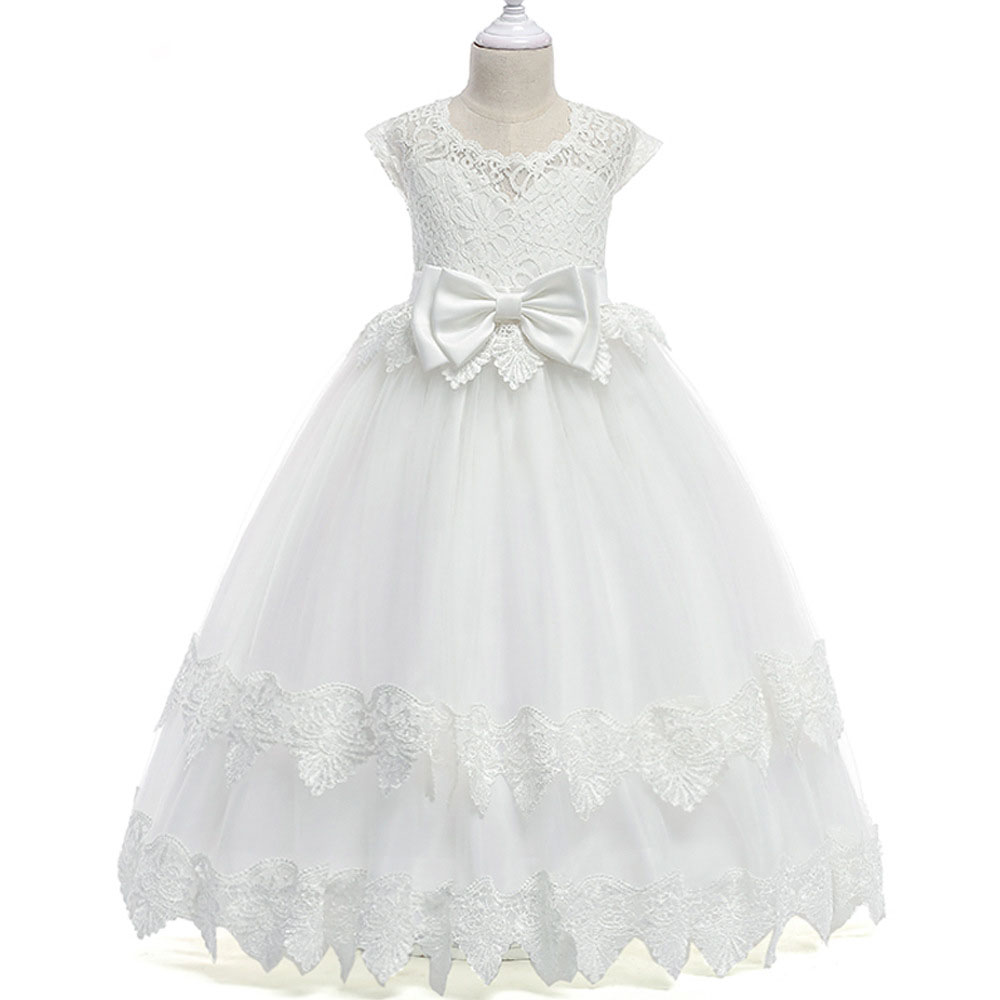 children's dresses casual solid mesh bow sashes tiered kids girl dress seeveless o neck ball gown girl dress 4 6 8 10 12 14 year