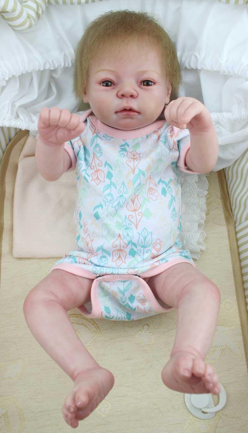 """22 """"всего тела силикона Reborn Baby Doll 55 см реалистичные виниловые новорожденная девочка малыш с Магнитная соска для девочек bebe Brinquedos"""