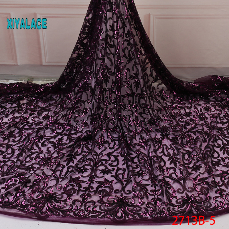 Purple French Lace Fabric For Dress Latest Nigerian Tulle Lace With Sequins 2019 High Quality African Lace Fabric YA2713B-5