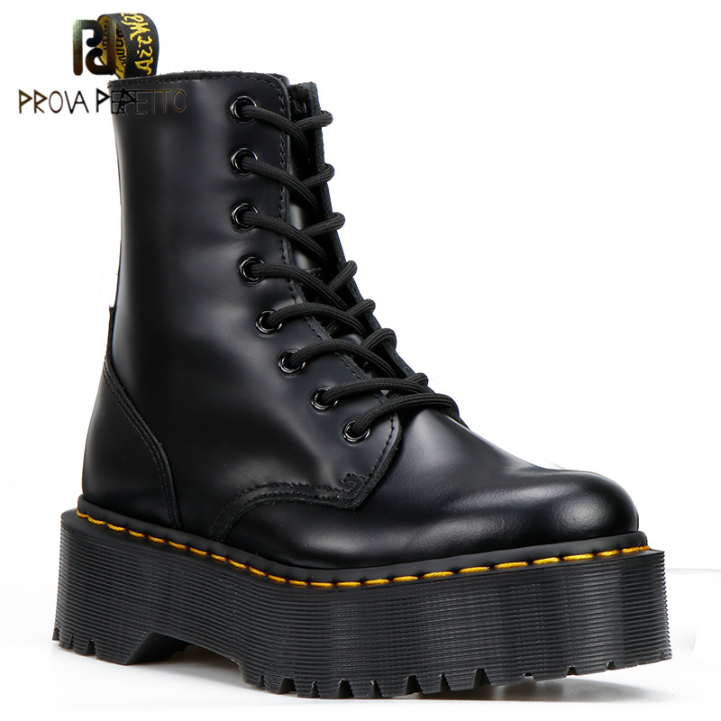 Prova perfetto 2019 Hot Style Woman Ankle Boots Black Genuine Leather Martin Boots Thick Sole Lace-up Women Leather BootsProva perfetto 2019 Hot Style Woman Ankle Boots Black Genuine Leather Martin Boots Thick Sole Lace-up Women Leather Boots